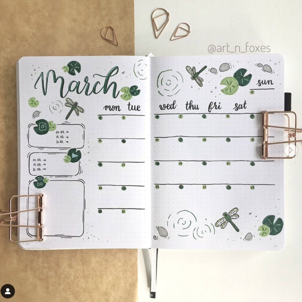 bullet journal monthly plant