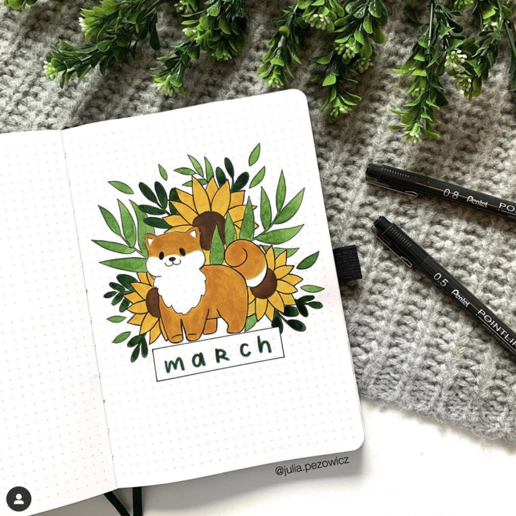 march bullet journal cover cute dog