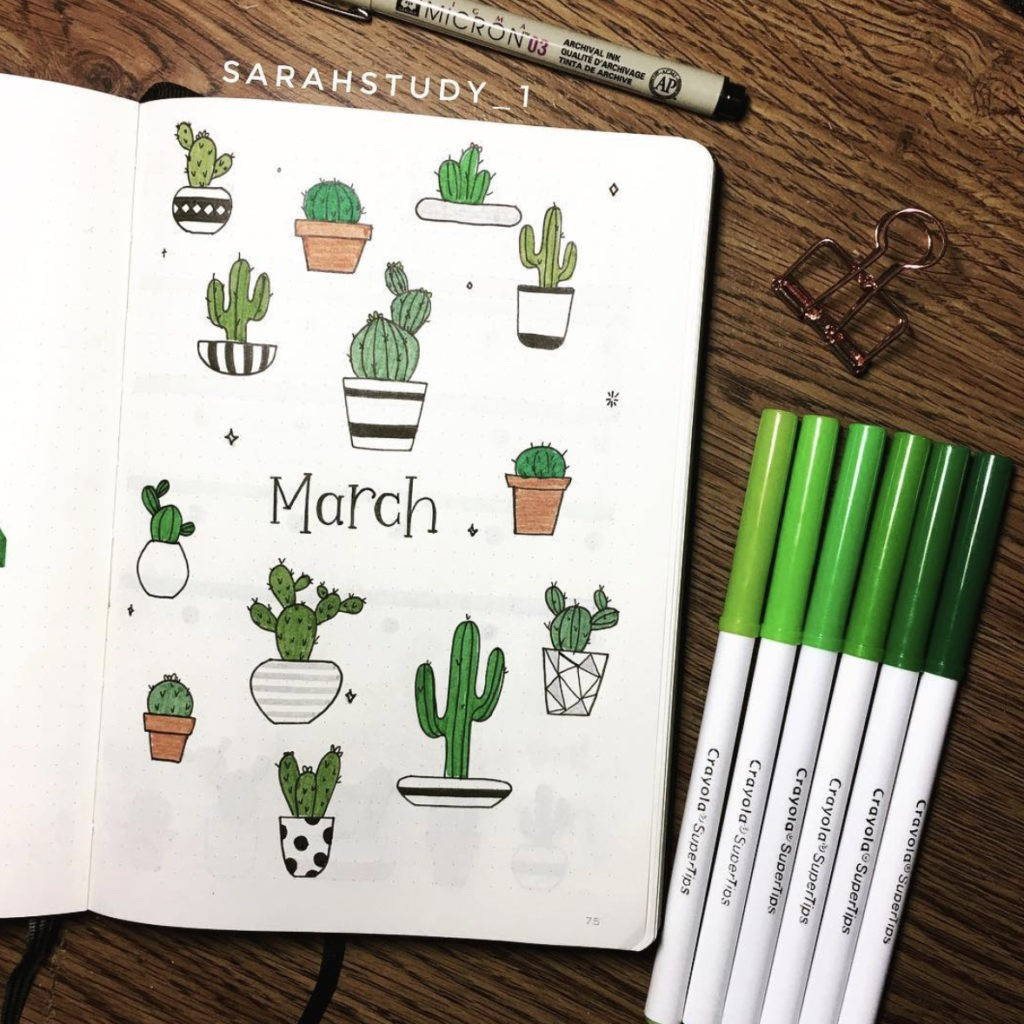 bullet journal cover cactus