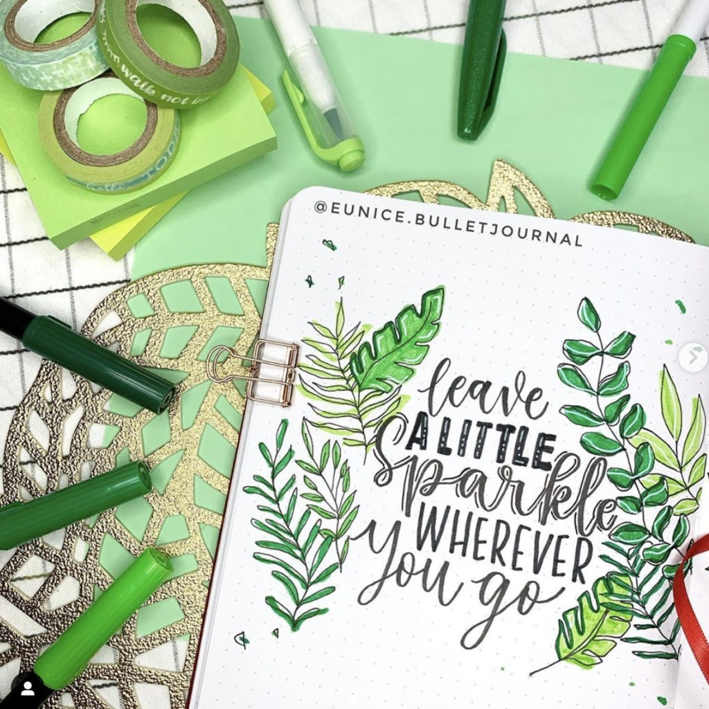 bullet journal quotes plant leave