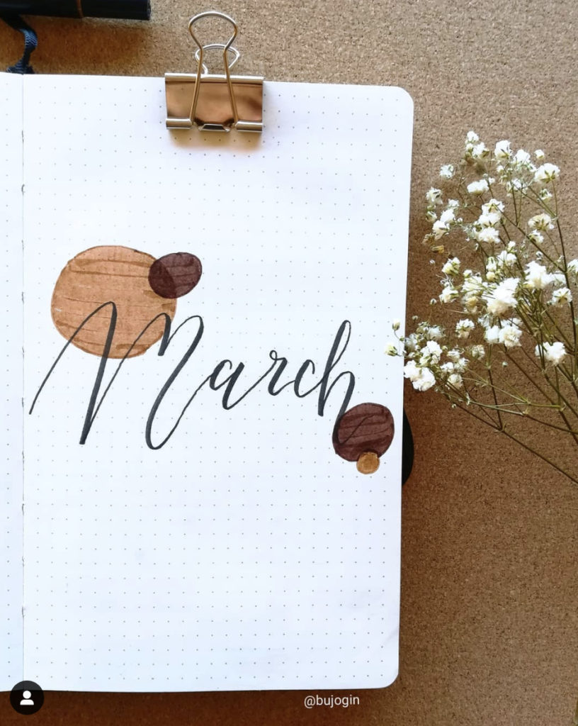 bullet journal cover page for march