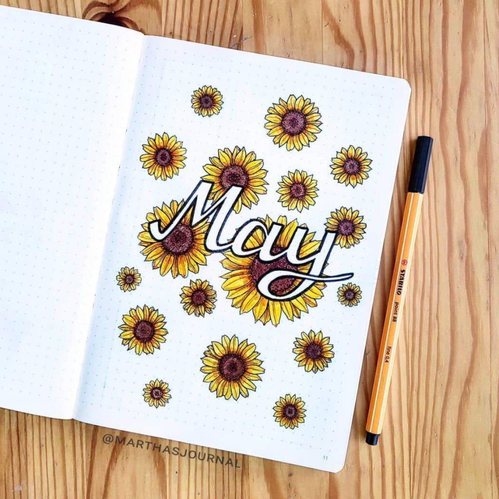 sunflower bullet journal
