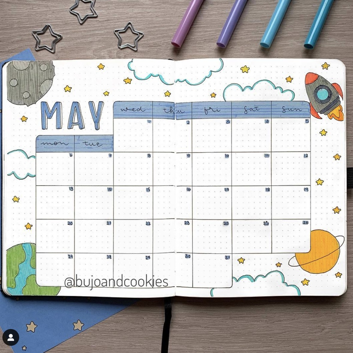 Best Complete Bullet Journal Space Theme