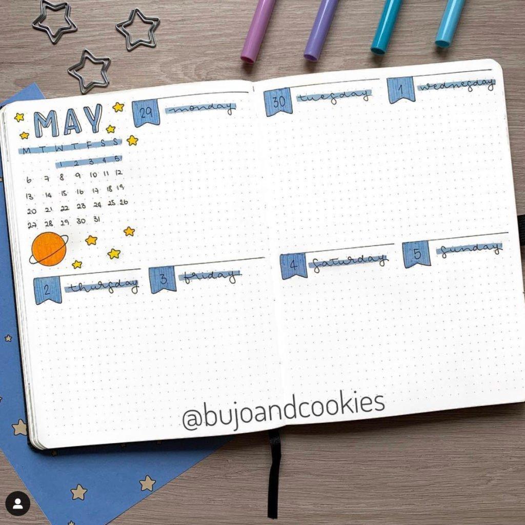 bukllet journal weekly spread