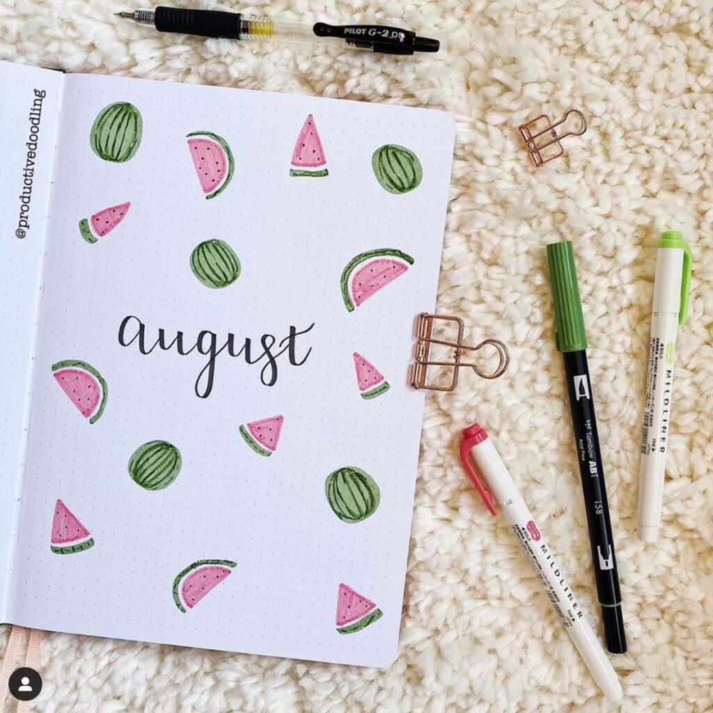 bullet-journal-august-watermelon