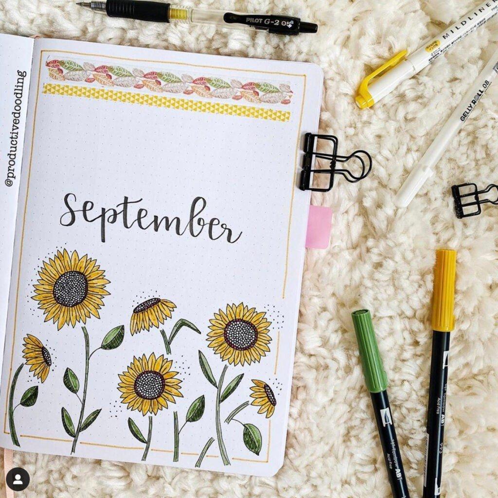 bullet journal september sunflower