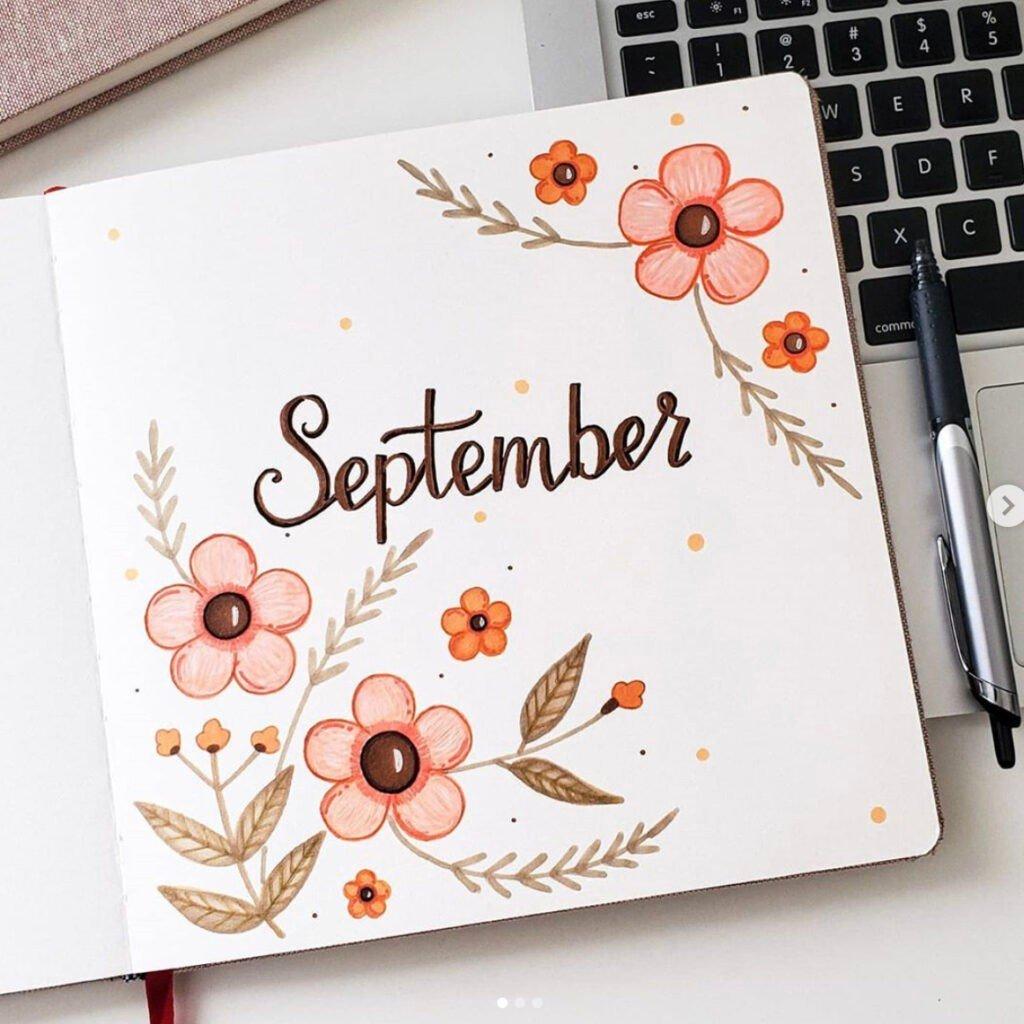 bullet journal september flowers