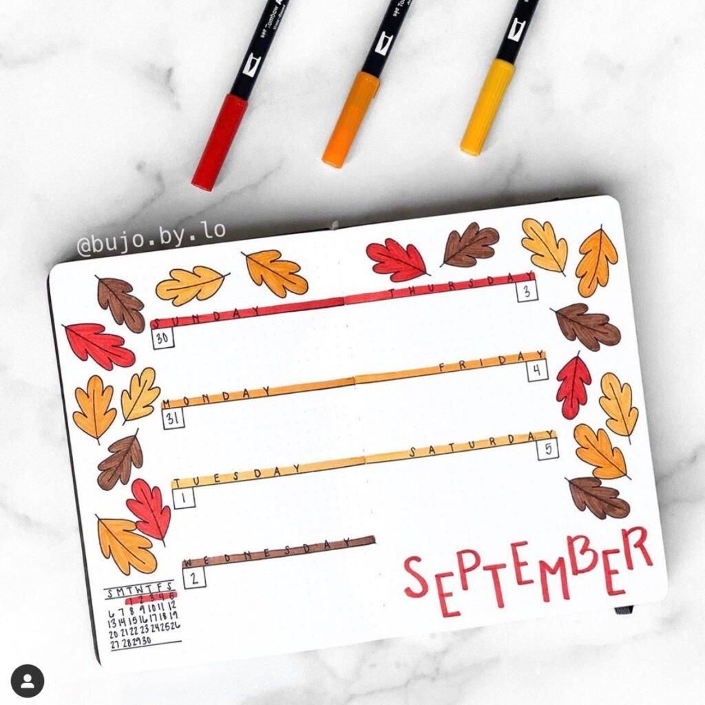 bullet journal september monthly