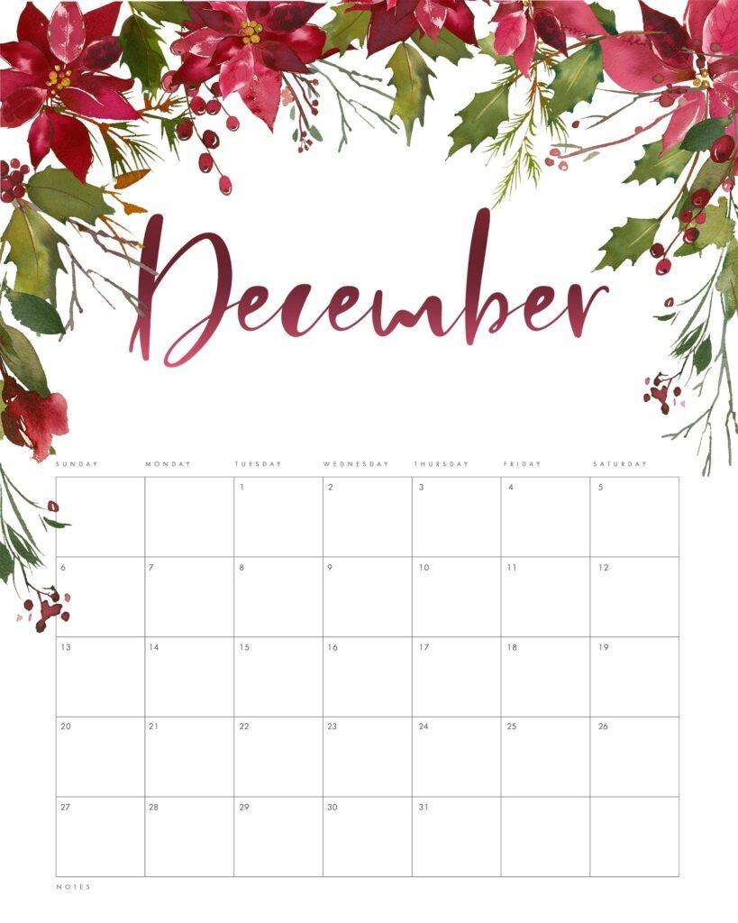 Free Floral December 2020 Calendar Printable Template