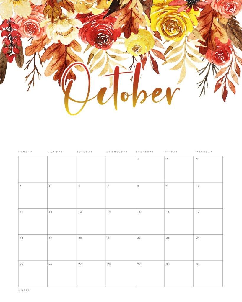 Free Floral October 2020 Calendar Printable Template