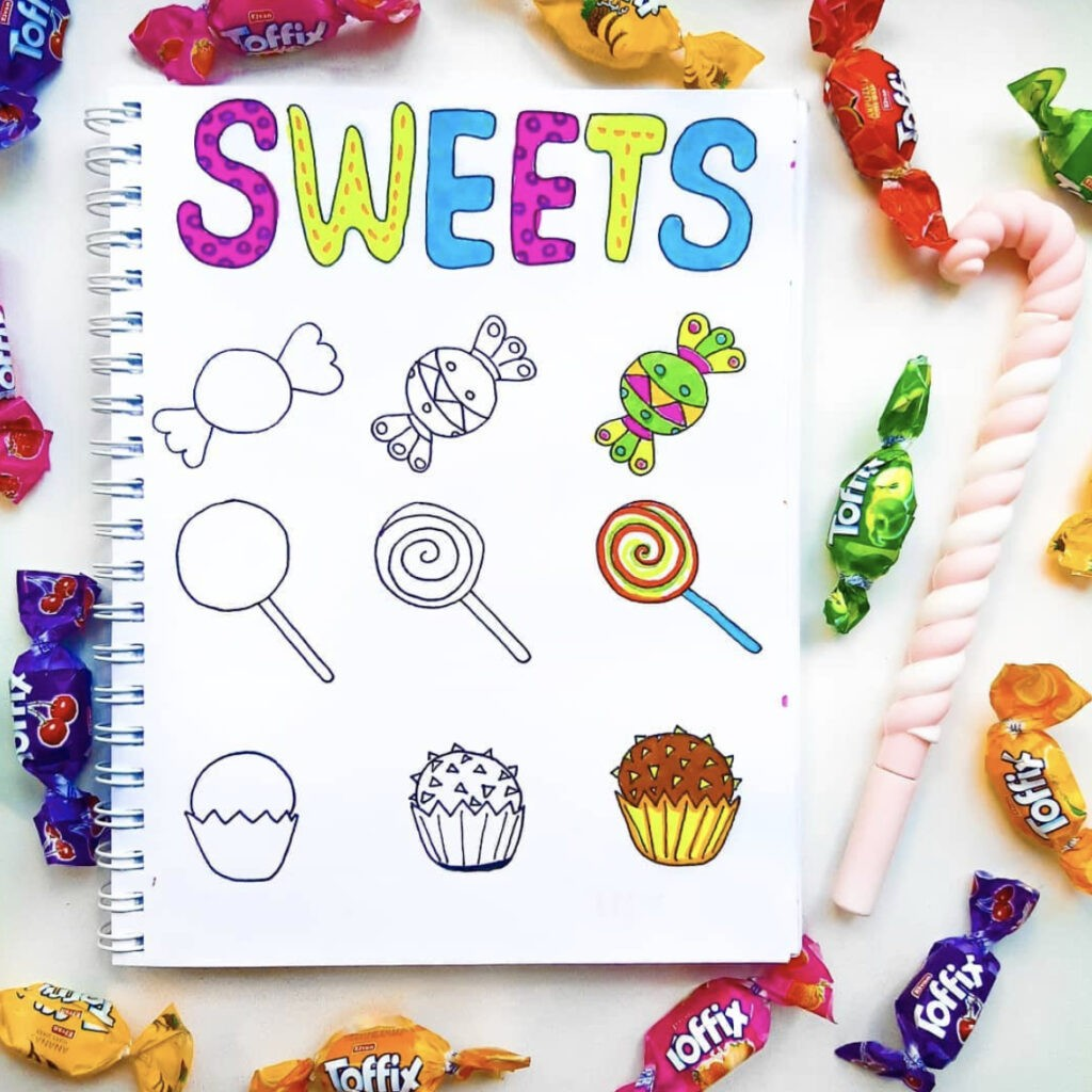 how to draw sweets
