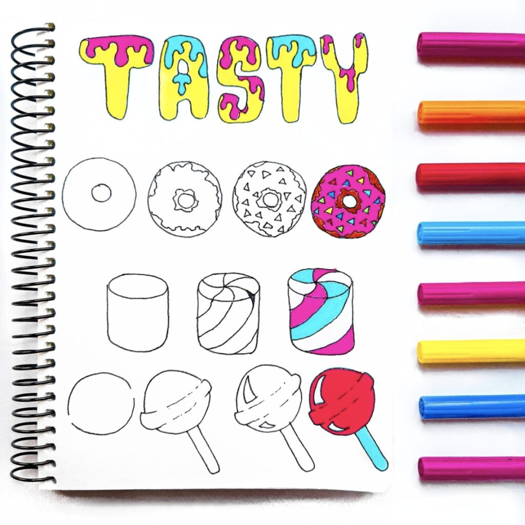 how to draw food easy