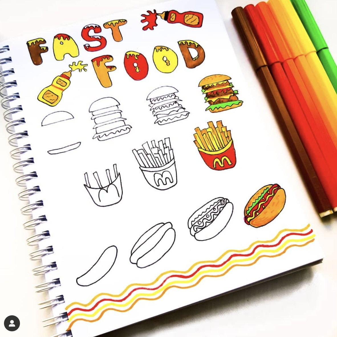 How to draw food step by step