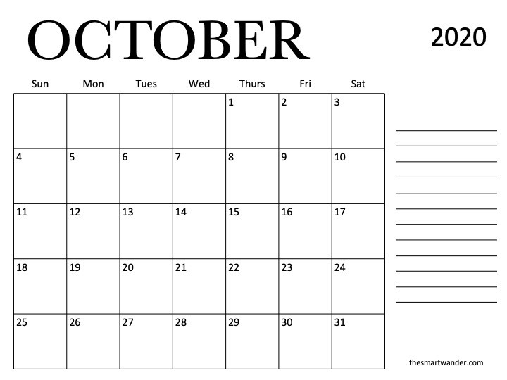 October Calendar Printable that you will love