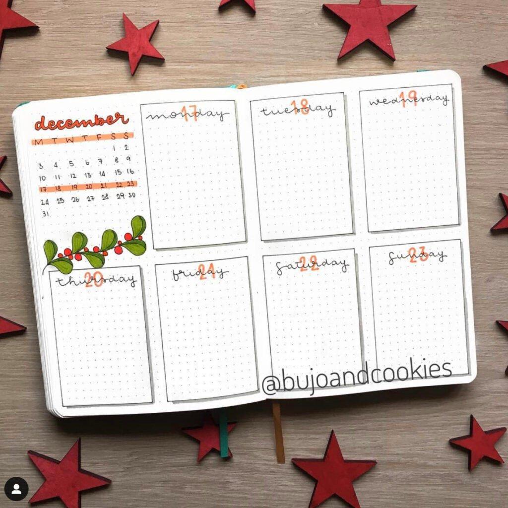 december bullet journal weekly spread