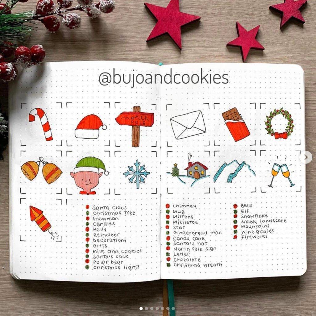december bullet journal doodles