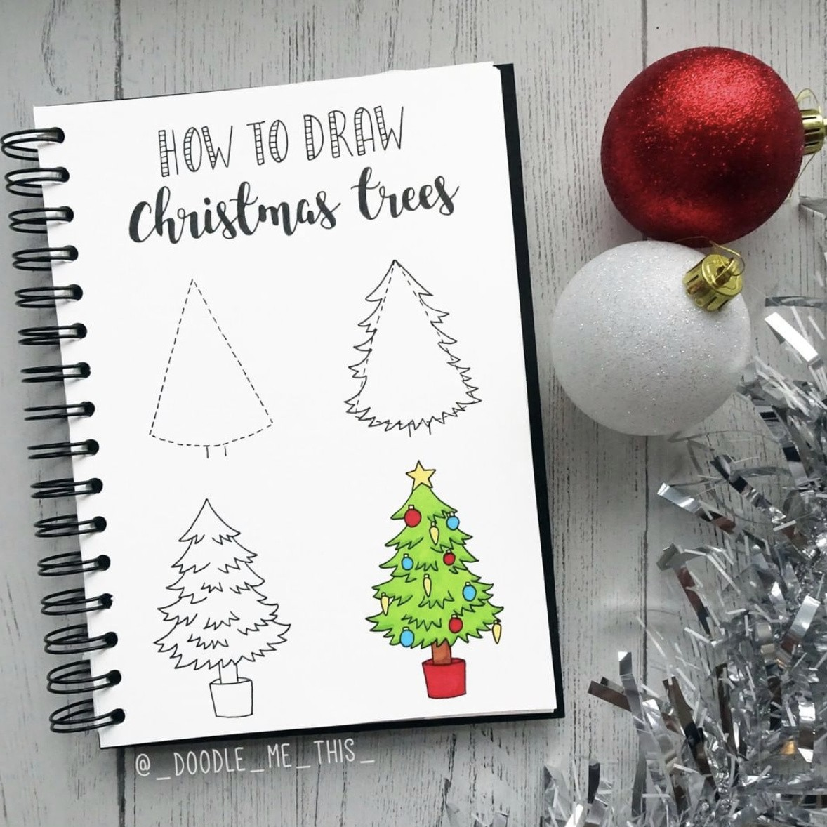 How to draw Christmas stuff step by step