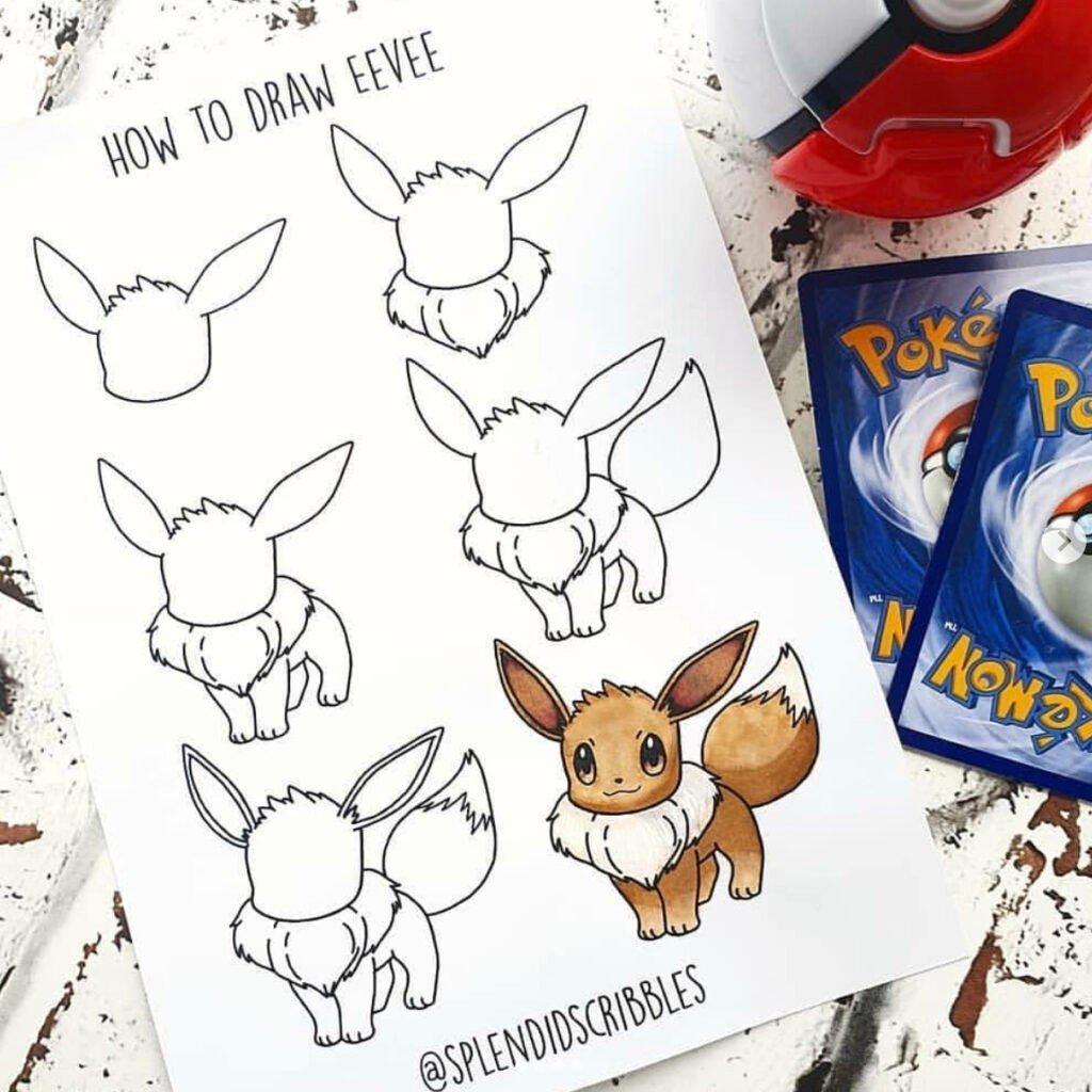 how to draw eevee cute