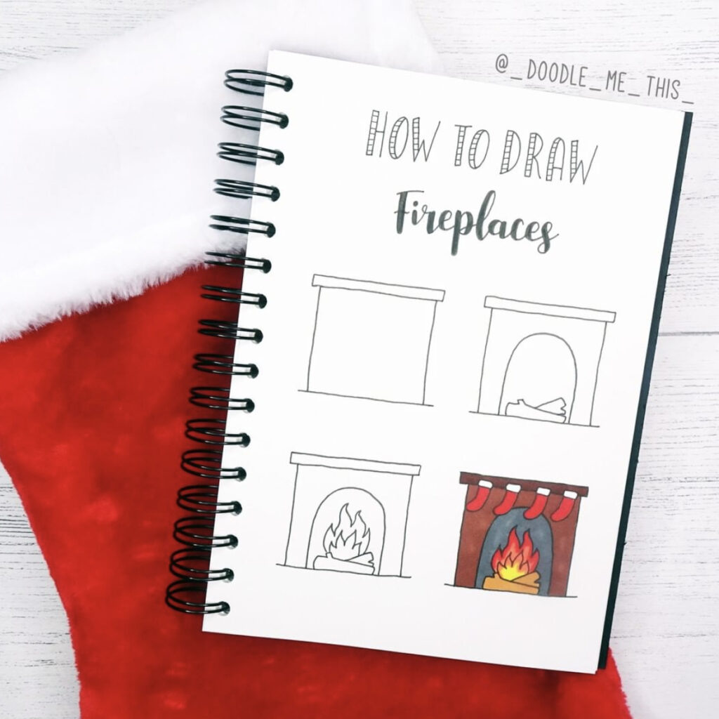 how to draw fireplace