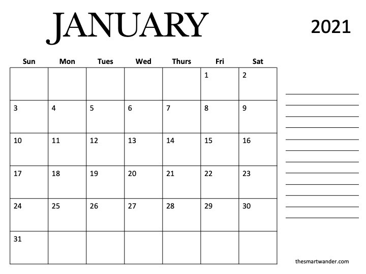 2021 Calendar Printable (Free) that you will love